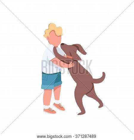 Boy Play With Dog Flat Color Vector Faceless Characters. Little Toddler Want To Hug Cute Puppy. Embr
