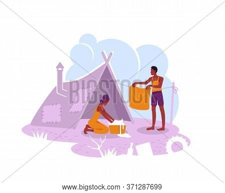 Refugee Camp 2d Vector Web Banner, Poster. Illegal Migrant Temporary Shelter Flat Characters On Cart