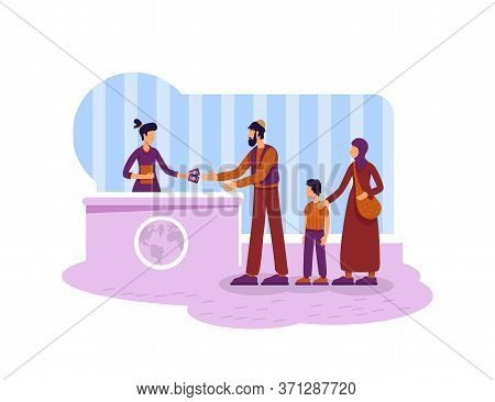 Legal Migration 2d Vector Web Banner, Poster. Refugees Muslim Family Flat Characters On Cartoon Back