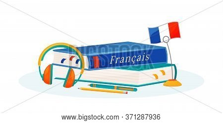 French Learning Flat Concept Vector Illustration. Foreign Language Course. School Subject. Linguisti
