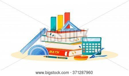 Maths Flat Concept Vector Illustration. School Subject. Formal Science Metaphor. Algebra And Geometr