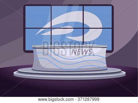 News Studio Flat Color Vector Illustration. Empty Newscast Stage 2d Cartoon Interior With Screens On
