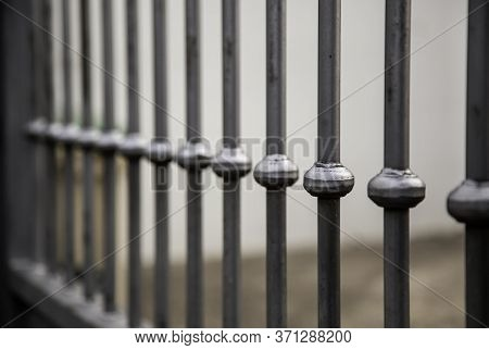 Metal Wrought Iron Fence, Decoration And Protection Detail, Wrought Metal