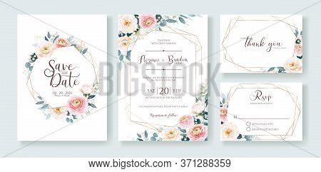Wedding Invitation, Save The Date, Thank You, Rsvp Card Design Template. Vector. Ranunculus And Whit
