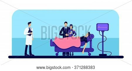 Dead Man In Hospital Flat Color Vector Illustration. Person Loss. Family Grief. Body In Medical Clin