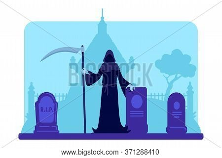 Grim Reaper With Scythe At Cemetery Flat Color Vector Illustration. Tombstones And Old Crypt Buildin