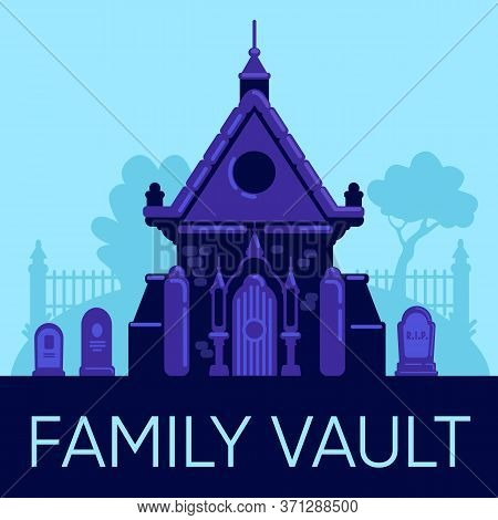 Family Vault Social Media Post Mockup. Web Banner Design Template. Old Stone Crypt In Cemetery. Boos