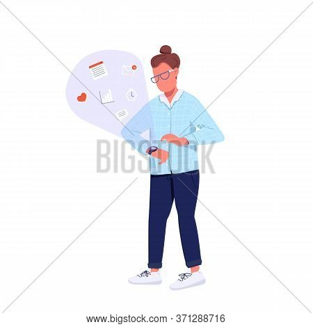 Hipster Using Smartwatch Flat Color Vector Faceless Character. Generation Z Lifestyle. Caucasian Per
