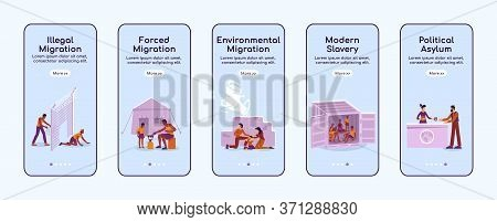 Refugees Onboarding Mobile App Screen Flat Vector Template. Illegal And Forced Migration. Walkthroug