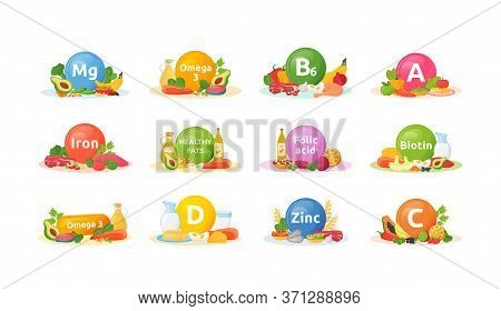 Products Rich Of Vitamins, Minerals For Health Cartoon Vector Illustrations Set. Balanced Diet Flat