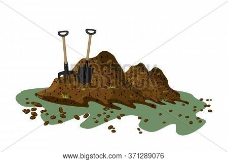 Pile Of Soil Isolated On White Background. Hayfork And Shovel In A Pile Of Ground. Heap Of Substrate
