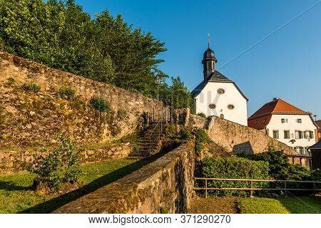 Catholic Church And Town Fortification In Lindenfels, Odenwald, Hesse, Germany