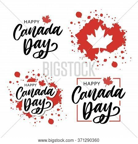Set Happy Canada Day Hand Drawn Calligraphy Pen Brush Vector