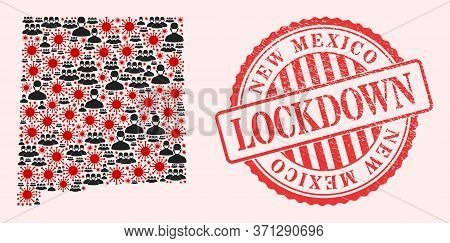 Vector Mosaic New Mexico State Map Of Sars Virus, Masked Men And Red Grunge Lockdown Stamp. Virus Pa