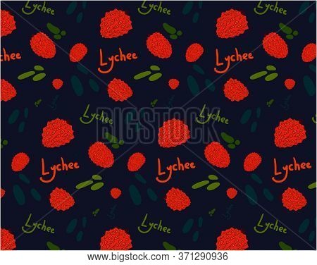 Lychee Fruit, Asian Exotic Fruits. Ripe Lychee Fruits Juicy Pulp, Vector Pattern For Printing On Tex