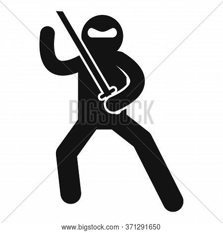 Ninja Fighting Icon. Simple Illustration Of Ninja Fighting Vector Icon For Web Design Isolated On Wh