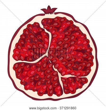 Half Pomegranate Icon. Cartoon Of Half Pomegranate Vector Icon For Web Design Isolated On White Back