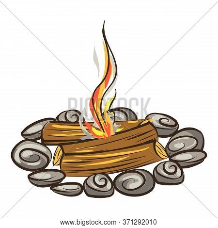 Tent Campfire Icon. Cartoon Of Tent Campfire Vector Icon For Web Design Isolated On White Background