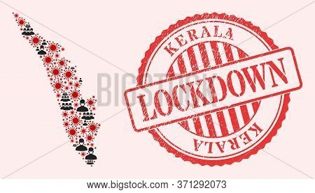 Vector Collage Kerala State Map Of Covid-2019 Virus, Masked Men And Red Grunge Lockdown Seal Stamp.