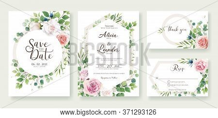 Wedding Invitation, Save The Date, Thank You, Rsvp Card Design Template. Vector. Roses Flower With G