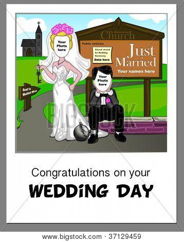 Falsificar cartão de casamento - basta adicionar suas próprias fotos para completar a cena.