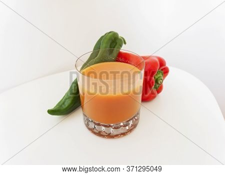Andalusian Gazpacho Isolated On White Background Typical Food From Spain