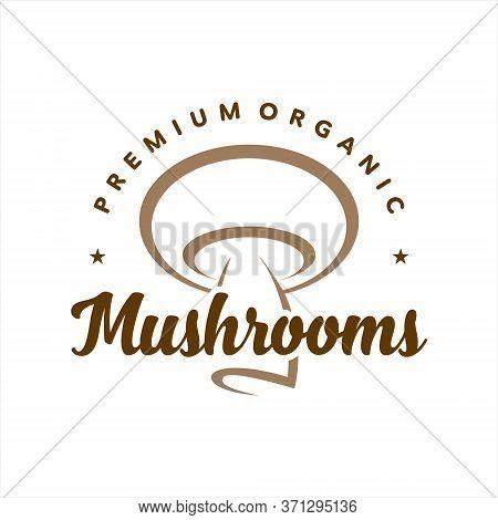 Mushroom Logo Simple Modern Line Art Badge Organic Vector. Agriculture Graphic Design Template Idea