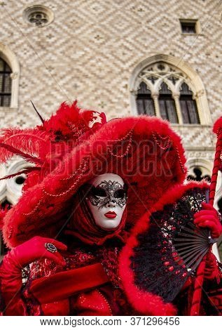 Venice, Italy - February 10, 2013: Unidentified Person With Venetian Carnival Mask In Venice, Italy.