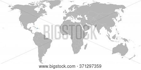 Haiti Caribbean Country Isolated On World Map. Light Gray Background. Business Concepts, Backgrounds
