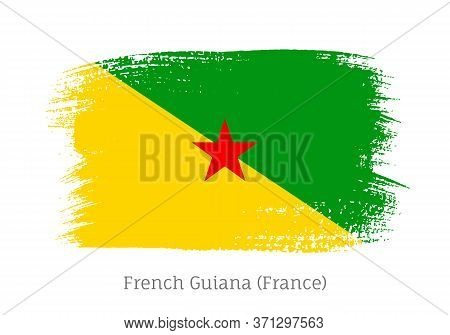 French Guiana Official Flag In Shape Of Paintbrush Stroke. National Identity Symbol For Patriotic De