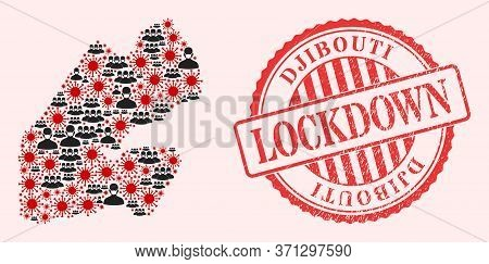 Vector Mosaic Djibouti Map Of Corona Virus, Masked People And Red Grunge Lockdown Seal Stamp. Virus