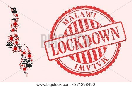 Vector Mosaic Malawi Map Of Flu Virus, Masked People And Red Grunge Lockdown Stamp. Virus Elements A