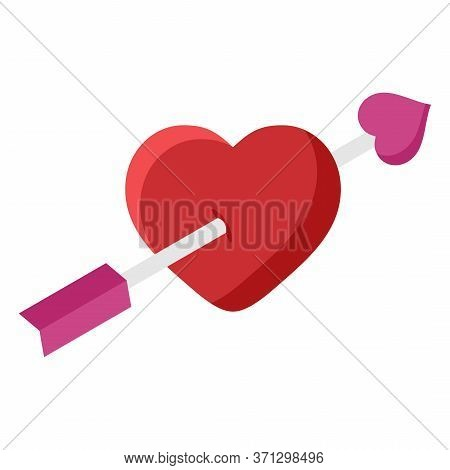 Heart With Arrow Flat Icon Isolated On White Background. Amour Symbol Valentines Day And Romantic, L