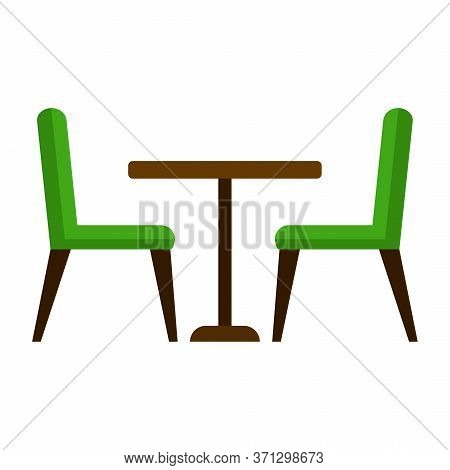 Dining Table And Chairs For Two People. Vector Illustration In Flat Style Isolated On White Backgrou