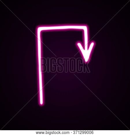 Neon Pink Turning Right Arrow Vector Icon. Hand-drawn Vector Illustration Of A Pointer On Black Back