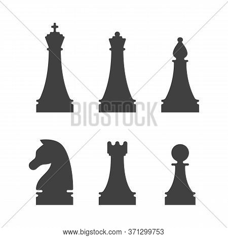Black Chess Pieces Icons On White Background. King, Queen, Bishop, Knight, Rook And Pawn Figures Iso