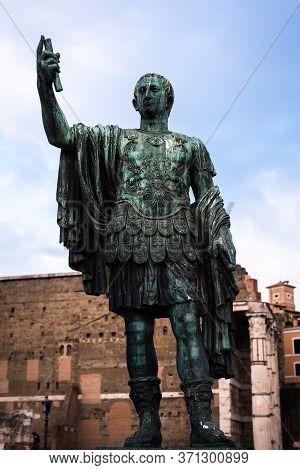Statue Of Julius Cesar, Emperor Of Ancient Rome, Italy