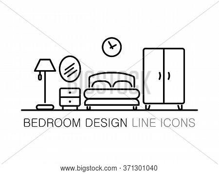 Bedroom Furniture Icon In Line Style On White. Bedroom Interior Design, Minimalist Modern Concept