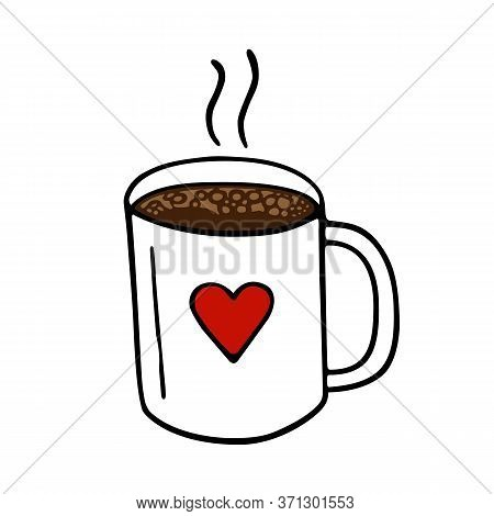 Large Mug Of Coffee Or Cocoa Hand-drawn. Vector Illustration In Doodle Style Black Outline With Red