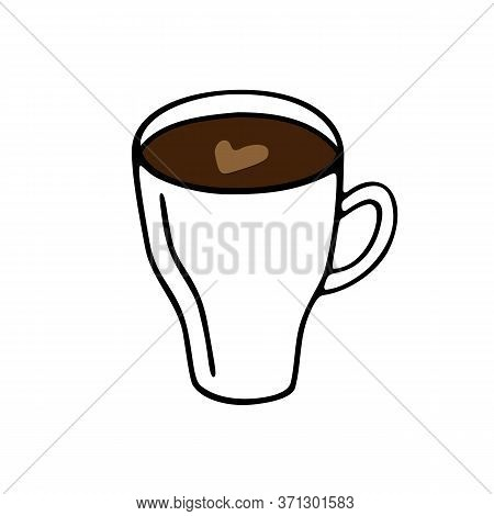 Large Mug Of Coffee Or Cocoa Hand-drawn. Vector Illustration In Doodle Style Black With Brown Elemen