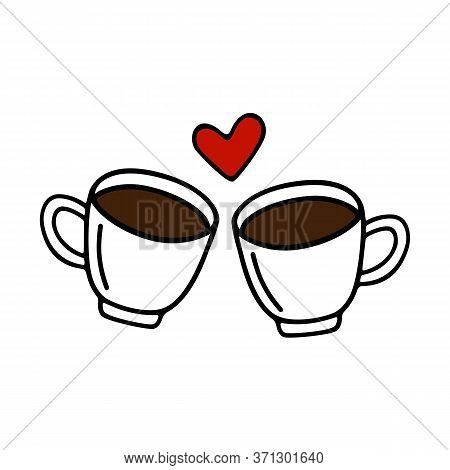 Two Large Mug Of Coffee Or Cocoa Hand-drawn For Lovers. Vector Illustration In Doodle Style Black Ou