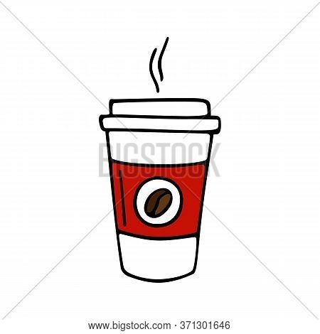 Paper Cup Of Coffee Hand-drawn. Vector Illustration In Doodle Style Black Outline With Red And Brown