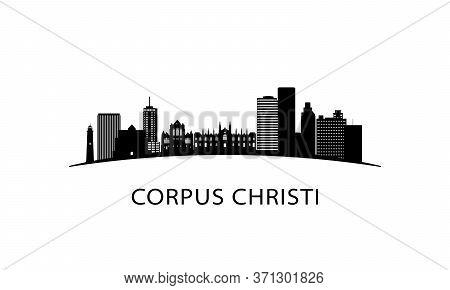 Corpus Christi City Texas Skyline. Black Cityscape Isolated On White Background. Vector Banner.
