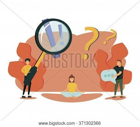Vector Illustration, Concept Illustration Of Frequently Asked Questions People Around Exclamations A