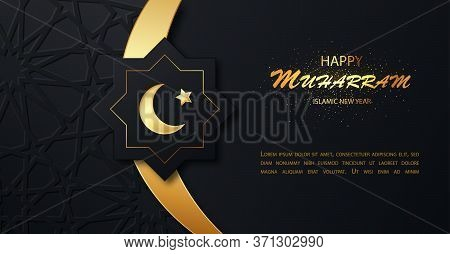 Happy Muharram Islamic New Hijri Year Background.gold Moon And Luxury Islamic Elements Background. I