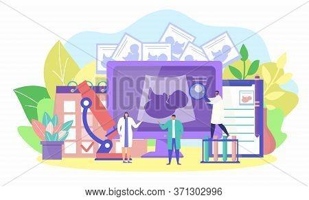 Pregnancy Fertility Concept, Vector Illustration. Medical Treatment, Flat Gynecology Cartoon Backgro
