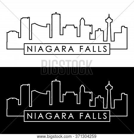 Niagara Falls Skyline. Linear Style. Editable Vector File.