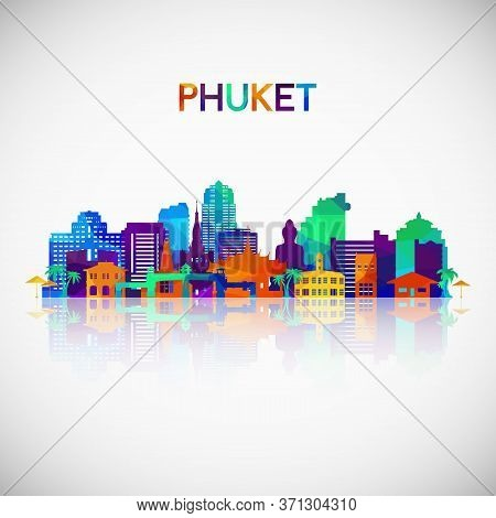 Phuket Skyline Silhouette In Colorful Geometric Style. Symbol For Your Design. Vector Illustration.