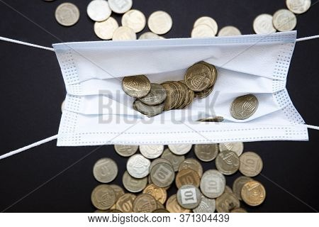 Medical Face Masks And Money Background. World Coronavirus Epidemic And Economic Losses Concept. Con