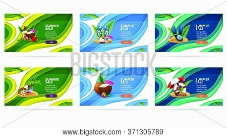 Large Set Modern Green And Blue Discount Banners With Summer Illustrations In Paper Cut Style. Large